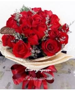 ช่อดอกกุหลาบสีแดง20ดอก B067