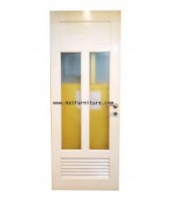 ประตูไม้สักสีขาว ฝังกระจกมัว พร้อมลูกบิด 240*80*4 ซม.