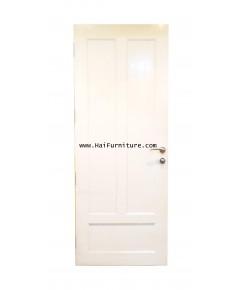 ประตูลูกฟักไม้สัก พร้อมชุดลูกบิดเขาควาย 201*80*4 ซม.