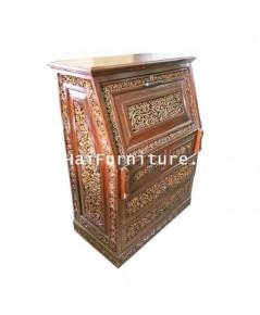โต๊ะทำงานไม้สักทอง แกะสลัก ปี 1960 87*48*115 ซม.