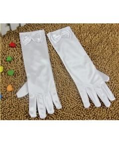 พร้อมส่ง ถุงมือผ้ามัน ประดับโบว์ ถุงมือเชียร์ลีดเดอร์เด็ก สีขาว ขนาดเด็กประถม ยาว 11.5 น