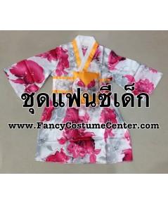 (ข อ ง ห ม ด ค่ะ) ชุดญี่ปุ่นเด็กหญิง ชุดกิโมโนสั้น พร้อมที่คาดเอว size4 อายุประมาณ 3-4 ขวบ