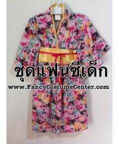 พร้อมส่ง  ชุดญี่ปุ่นเด็กหญิง ชุดกิโมโนยาว (โทนสีชมพู) size L อายุประมาณ 5-6 ขวบ