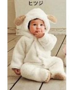 พร้อมส่ง ชุดนอนสัตว์ ชุดกันหนาว ชุดหมีเด็ก ชุดจั๊มสูท สีขาว ขนาดเด็กสูง 90 cm