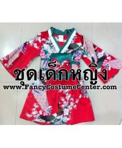 (ของหมด!!!)  ชุดญี่ปุ่นเด็กหญิง ชุดกิโมโนสั้น สีแดง เขียว พร้อมที่คาดเอว size26 (sizeL) ขนาดอายุ 5-6