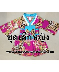 (ข อ ง ห ม ด ค่ะ) ชุดกิโมโนสั้น ลายเสือ สีชมพู ฟ้า  size22 อายุ 3-4 ขวบ