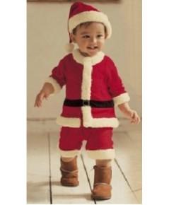 พร้อมส่ง ชุดซานต้า (สินค้าจริงเป็นกำมะหยี่ดี) ขนาดสูง 110-120 cm พร้อม หมวก เข็มขัด (ไม่รวมรอ