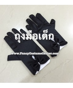 พร้อมส่ง ถุงมือเด็ก ถุงมือผ้ามัน ประดับโบว์ ถุงมือเชียร์ลีดเดอร์เด็ก สีดำ ขนาดเด็กอนุบาล