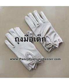 พร้อมส่ง ถุงมือเด็ก ถุงมือผ้ามัน ประดับโบว์ ถุงมือเชียร์ลีดเดอร์เด็ก สีเทาเงิน ขนาดเด็กอนุบาล