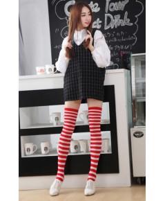 พร้อมส่ง ถุงเท้ายาว เหนือเข่า(ต้นขาล่าง) สีแดงขาว (ลายแถบเล็ก)