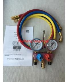 เกจ์คู่สำหรับชาร์จน้ำยาพร้อมสาย 93 ซม. 3 เส้น (R32,R410a) รุ่นมินิ (ขนาดเล็กกระทัดรัด) \'TASCO JAPAN