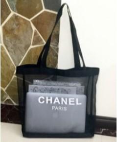 Chanel Black Nylon Tote กระเป๋าใส่ของผ้ามุ้งไนล่อนสีดำ
