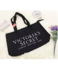 Victoria's Secret Black Tote กระเป๋าผ้าใส่ของสีดำหัวซิปโลโก้ VS สีเงิน