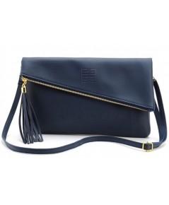Givenchy Navy Blue Leather Shoulder Bag กระเป๋าสะพายสีน้ำเงินประดับพู่ปอมๆ