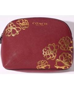 Coach Red Floral Pouch กระเป๋าเครื่องสำอางสีแดงเรดไวน์สกรีนลาย