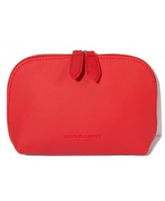 Burberry Beauty Red Cosmetic Pouch กระเป๋าเครื่องสำอางหนังสีแดง