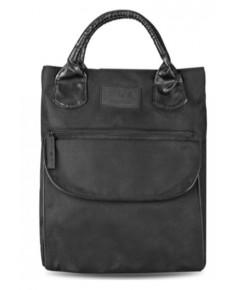 Emporio Armani Cabas Tote กระเป๋าใส่ของผ้าแคนวาสสีดำหูจับหุ้มหนัง