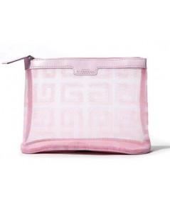 Givenchy Pink Nylon Cosmetic Pouch  กระเป๋าเครื่องสำอางผ้าไนล่อนแบบโปร่งสีชมพู