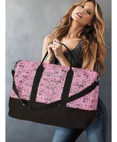 Victoria\'s Secret Graffiti Weekender Bag กระเป๋าเดินทางผ้าแคนวาสสกรีนลายกราฟฟิตี้
