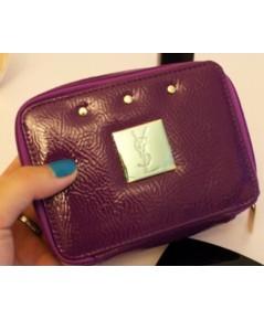 YSL Purple Cosmetic Bag with Golden Studs กระเป๋าเครื่องสำอางทรงเหลี่ยมหนังสีม่วงตอกหมุดทอง