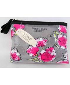 Victoria's Secret Gray Cosmetic Pouch กระเป๋าเครื่องสำอางสีเทาสกรีนลายดอกกุหลาบ