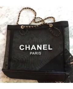Chanel Black Nylon Tote with Leather and Golden-Chain Straps กระเป๋าไนล่อนสะพายไหล่โซ่ทองประดับหนัง