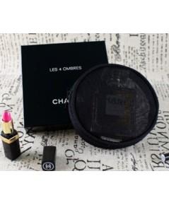 Chanel Black Nylon Round Cosmetic Pouch กระเป๋าใส่เครื่องสำอางผ้าโปร่งทรงกลมสีดำ (พร้อมกล่อง)