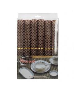 เสื่อรองจานโต๊ะอาหาร ลายสานเส้นใหญ่ สีน้ำตาล  1630-007-C04