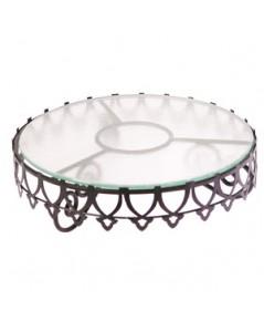 ที่วางขนมเค๊กทรงกลมลายมงกุฎรวมจานแก้ว ความสูง 12 cm. 1619-038