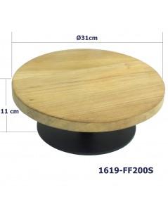 ขาตั้งที่วางเค้กฐานเหล็กและแผ่นไม้สัก 31 ซม.  สูง  11 ซม. 1619-FF200S