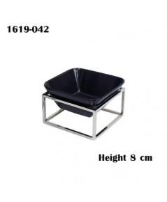 ขาตั้งสแตนเลสสีเหลี่ยมจตุรัสรวมจานเซรามิกสีดำ ขนาด กว้าง 15 x ยาว 15 x สูง 8 ซม. 1619-042