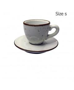 ถ้วยเอสเปรสโซ่ 70 CC. (Size S) ถ้วยกาแฟสีขาวลายจุด พร้อมจานรอง 1618-055