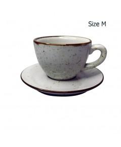 ถ้วยกาแฟ 150 CC. (Size M) ถ้วยกาแฟสีขาวลายจุด พร้อมจานรอง 1618-059