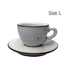ถ้วยกาแฟ 230 CC. (Size L) ถ้วยกาแฟสีขาวลายจุด พร้อมจานรอง  1618-063