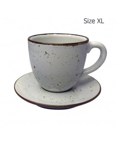 ถ้วยกาแฟ 330 CC. (Size XL) ถ้วยกาแฟสีขาวลายจุด  พร้อมจานรอง 1618-067