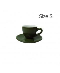 ถ้วยเอสเปรสโซ่ 70 CC. (Size S) ถ้วยกาแฟสีเขียวใบไม้  พร้อมจานรอง 1618-056