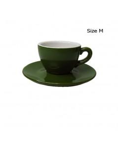 ถ้วยกาแฟ 150 CC. (Size M) ถ้วยกาแฟสีเขียวใบไม้ พร้อมจานรอง 1618-060