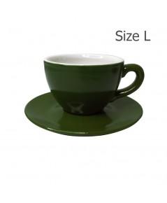 ถ้วยกาแฟ 230 CC. (Size L) ถ้วยกาแฟสีเขียวใบไม้ พร้อมจานรอง  1618-064