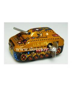 ของเล่นสังกะสี รถถังจิ๋ว สีเหลือง ไขลานวิ่งได้
