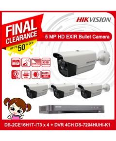 ชุดกล้องวงจรปิด HIKVISION Pack 4 5MP  (5MP, IR 40M) + DVR DS-7204HUHI-K1 4CH