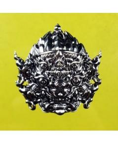 หน้ากากสี่หูห้าตา (รุ่นมหาเฮง) เนื้อทองขาว ขัดเงา ปี 62 ครูบาคำฝั้น วัดกอโชค