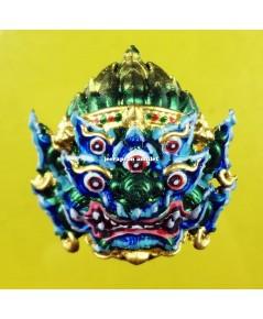หน้ากากสี่หูห้าตา (รุ่นมหาเฮง) เนื้อสัมฤทธิ์ เพ้นท์สี ปี 62 ครูบาคำฝั้น วัดกอโชค