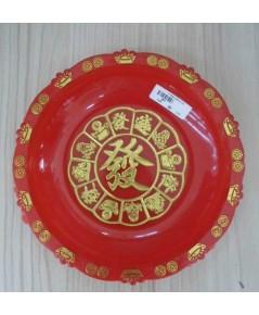 พานแดงอักษรจีนลายมงคล12ช่อง7นิ้ว(รหัส887)