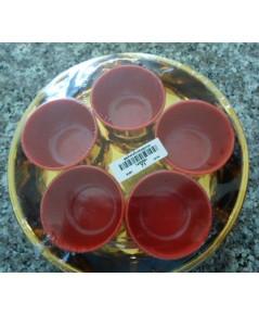 ชุดน้ำชา 5 ใบกลม ชุบทอง