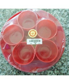 ชุดน้ำชา 5 ใบ กลม สีแดงลายทอง