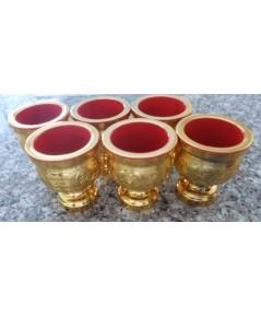 ชุดถ้วยน้ำชา 6 ใบ สีทองลายเจียวไช้ ขาสูง
