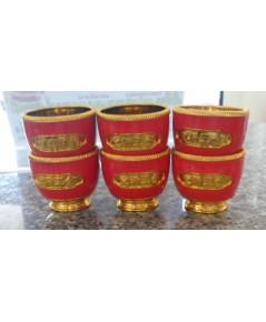ชุดถ้วยน้ำชา 6 ใบ สีแดง