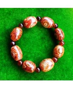 สร้อยข้อมือ หินทิเบตหินตาลูกปัดอาเกตสีน้ำตาลธรรมชาติหินพุทธศาสนาประมาณ 16-17 มิลลิเมตร