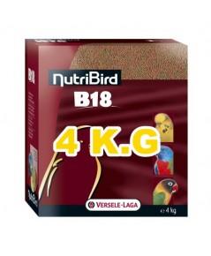 NutriBird B18 เม็ดสี อาหารนก กรงหัวจุก สูตรสำหรับพ่อแม่พันธุ์ และสูตรสำหรับนกผลัดขน บรรจุ 4 kg.