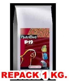 P19 อาหารนกแก้ว ใหญ่-กลาง เม็ดสี สูตรเตรียมความพร้อม บำรุงร่างกาย และผลัดขน แบ่งจำหน่าย 1 KG.